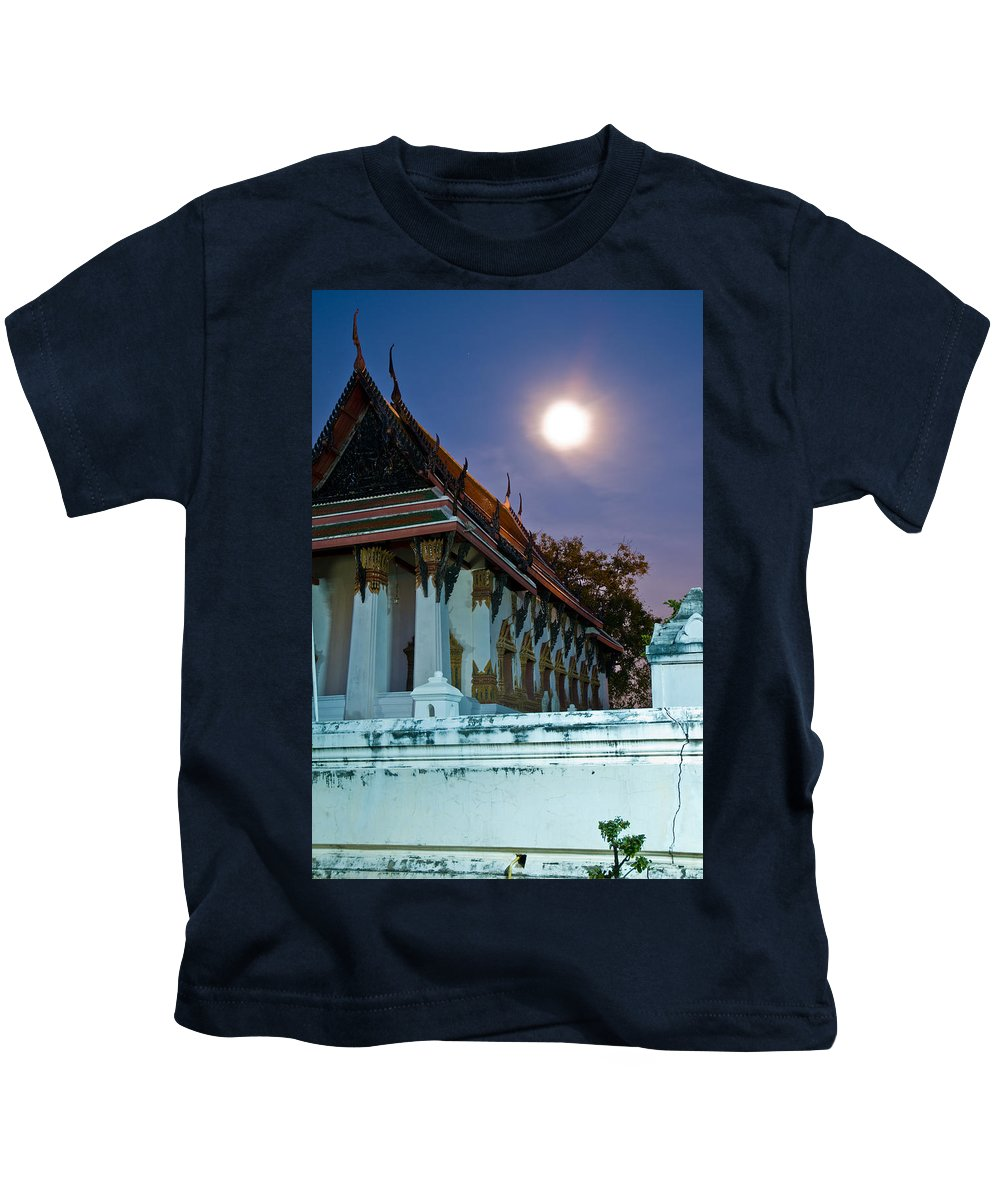 Ancient Kids T-Shirt featuring the photograph A Tempel In A Wat During A Full Moon Night by U Schade