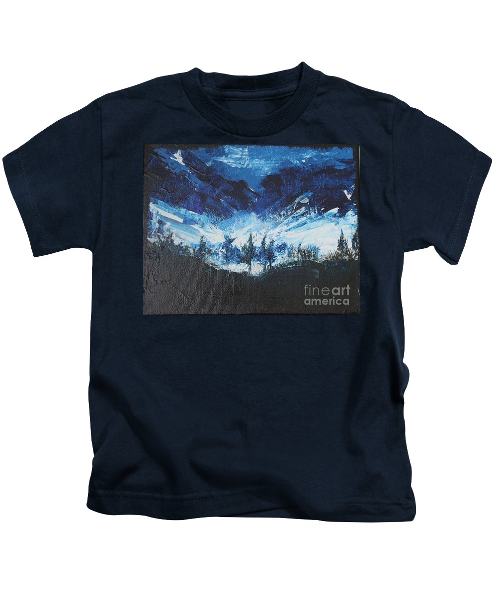 Blue Kids T-Shirt featuring the painting Abstract 1 by Mantra Y