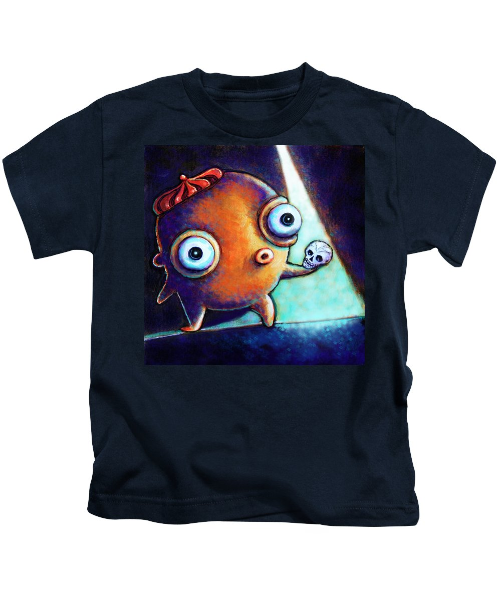 Little Monster Kids T-Shirt featuring the painting Alas Poor Yorick by Leanne Wilkes
