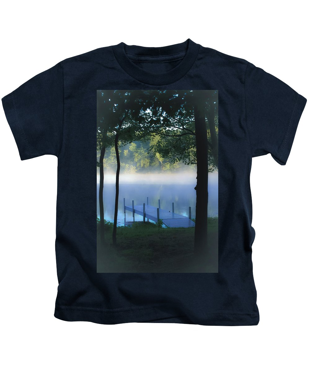 Scales Lake Kids T-Shirt featuring the photograph As The Lake Awakens by DigiArt Diaries by Vicky B Fuller