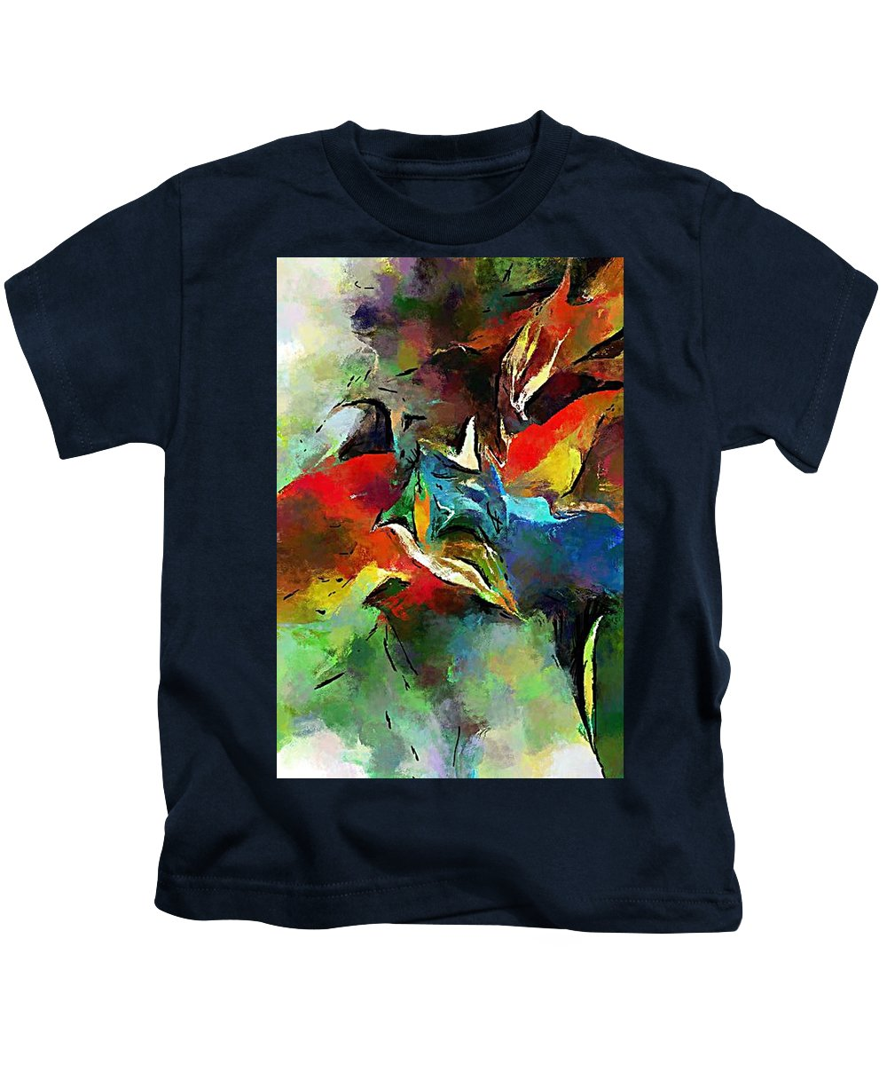 Fine Art Kids T-Shirt featuring the digital art Autumn Streamside 030212 by David Lane