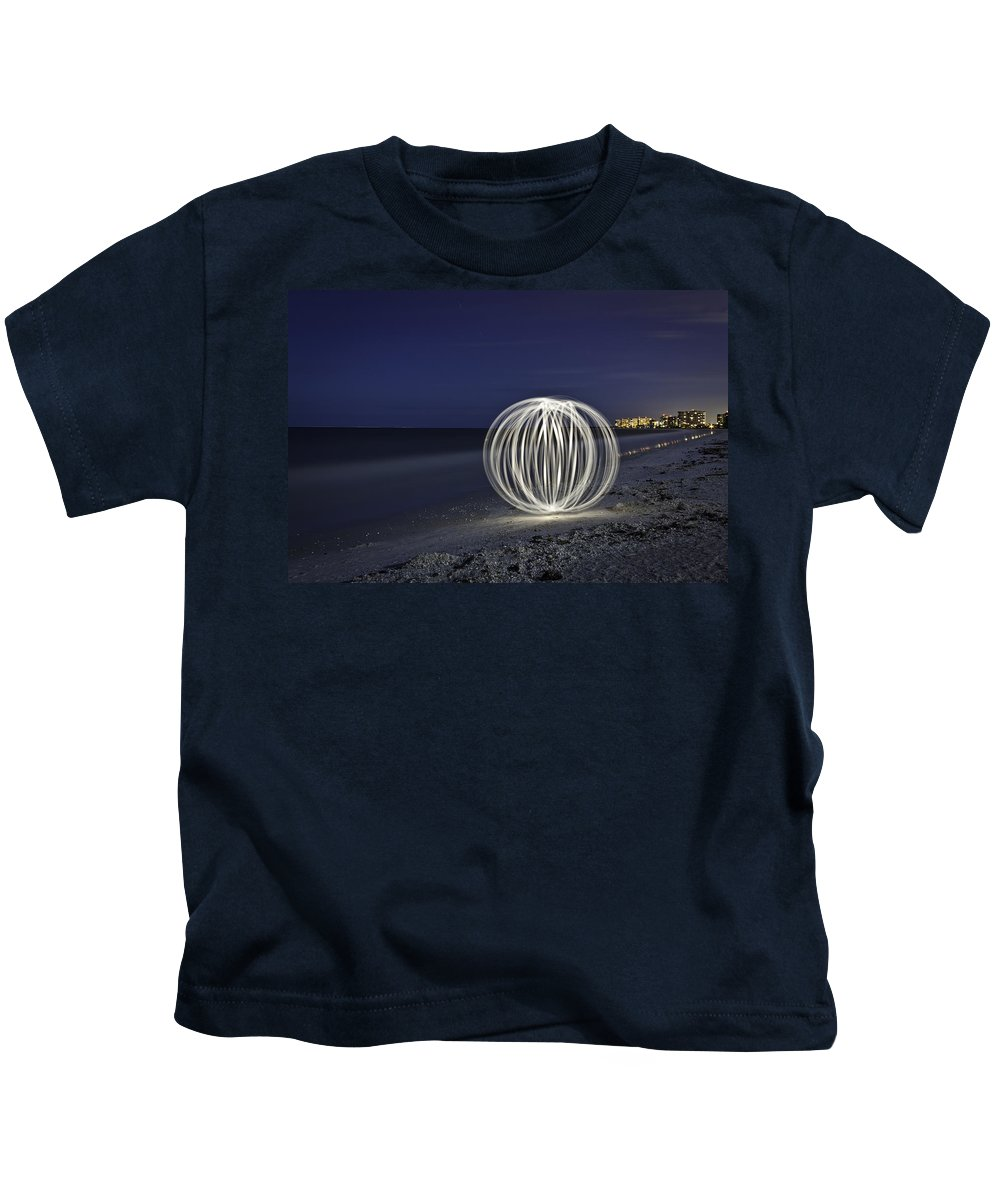 Night Sky Kids T-Shirt featuring the photograph Ball Of Light Marco Island Beach by Rich Franco