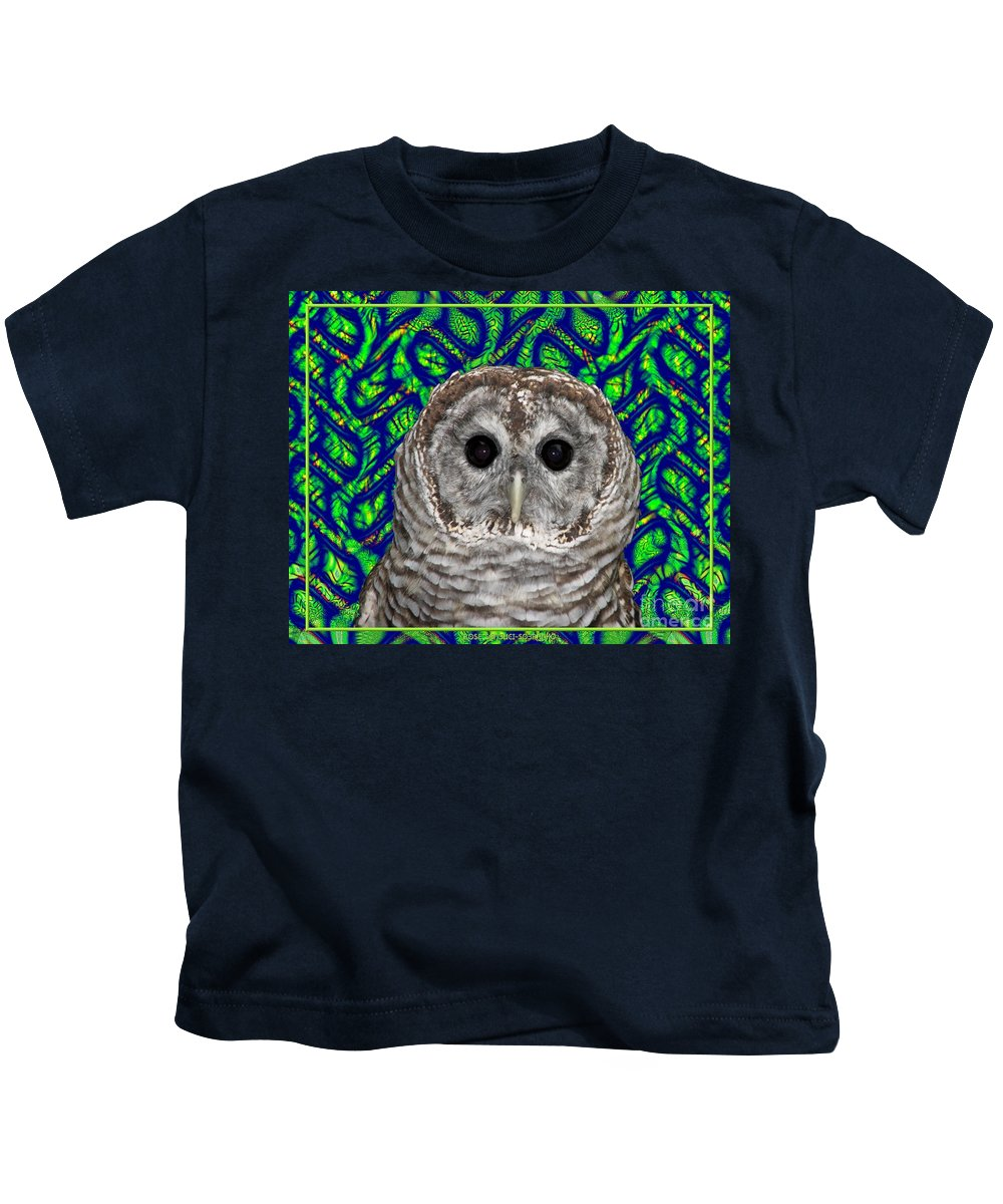 Barred Owl Kids T-Shirt featuring the photograph Barred Owl In A Fractal Tree by Rose Santuci-Sofranko