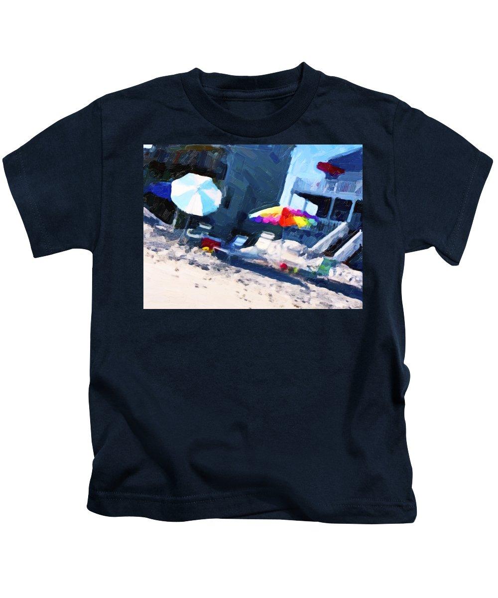 Beach Kids T-Shirt featuring the digital art Beach by Betsy Knapp
