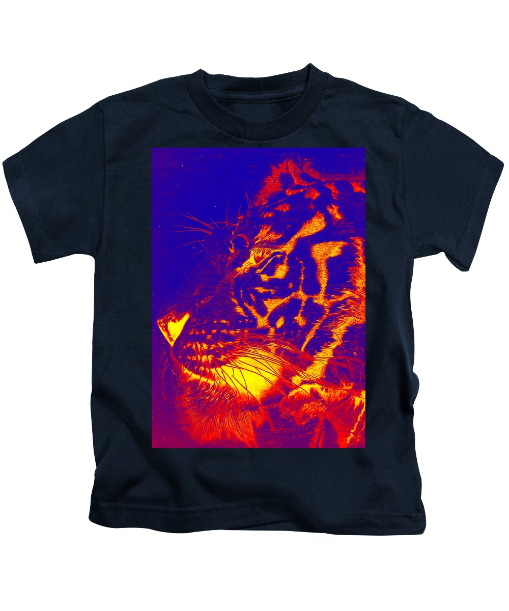 Surreal Paintings Kids T-Shirt featuring the digital art Bengala On Fire by Mayhem Mediums