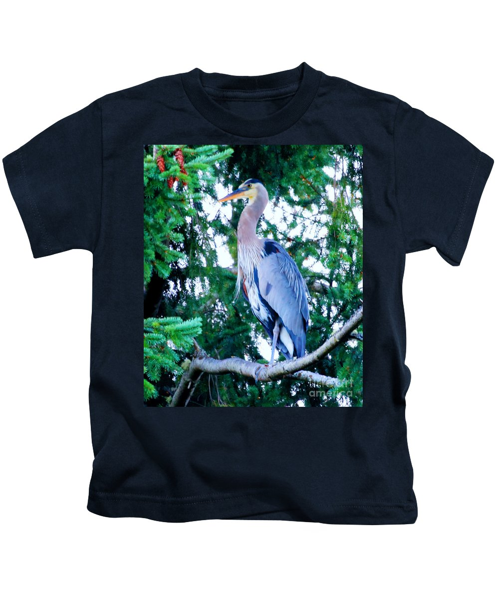 Giant Blue Heron Kids T-Shirt featuring the photograph Big Bird - Great Blue Heron by Tap On Photo