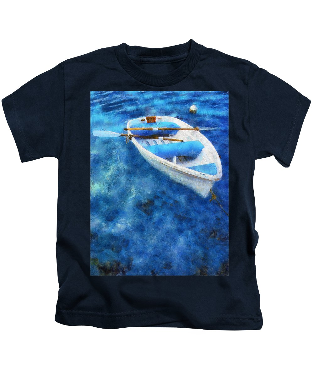 Boat Kids T-Shirt featuring the photograph Blue And White. Lonely Boat. Impressionism by Jenny Rainbow