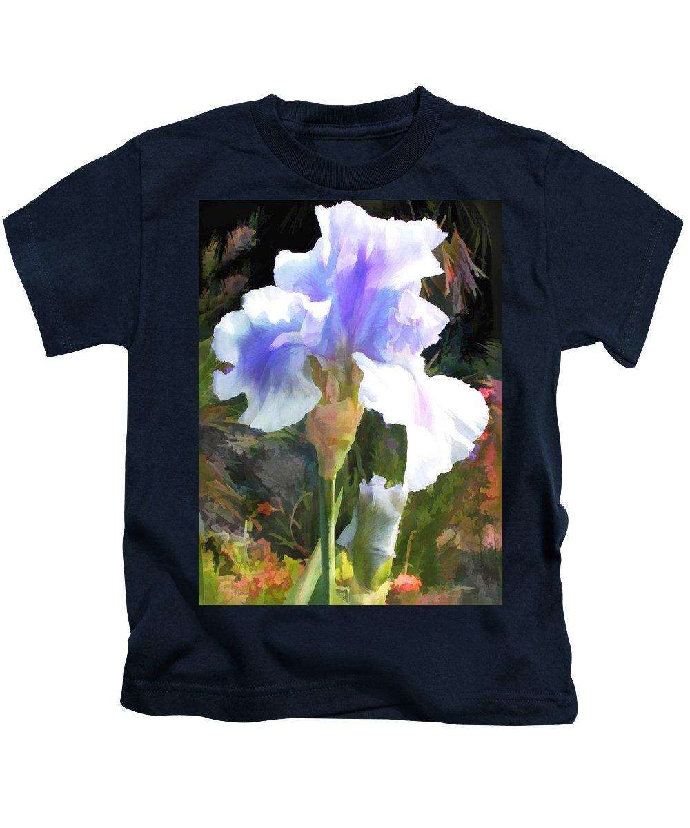 Iris Kids T-Shirt featuring the painting Blue Iris by Elaine Plesser