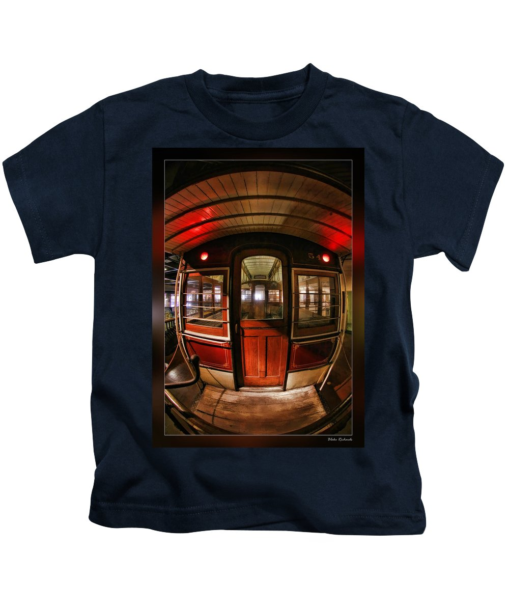 Art Photography Kids T-Shirt featuring the photograph Cable Car Door by Blake Richards