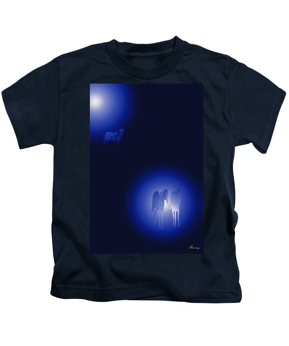 Blue Rainbow Circle Of Light Horses Kids T-Shirt featuring the digital art Calm by Andrea Lawrence