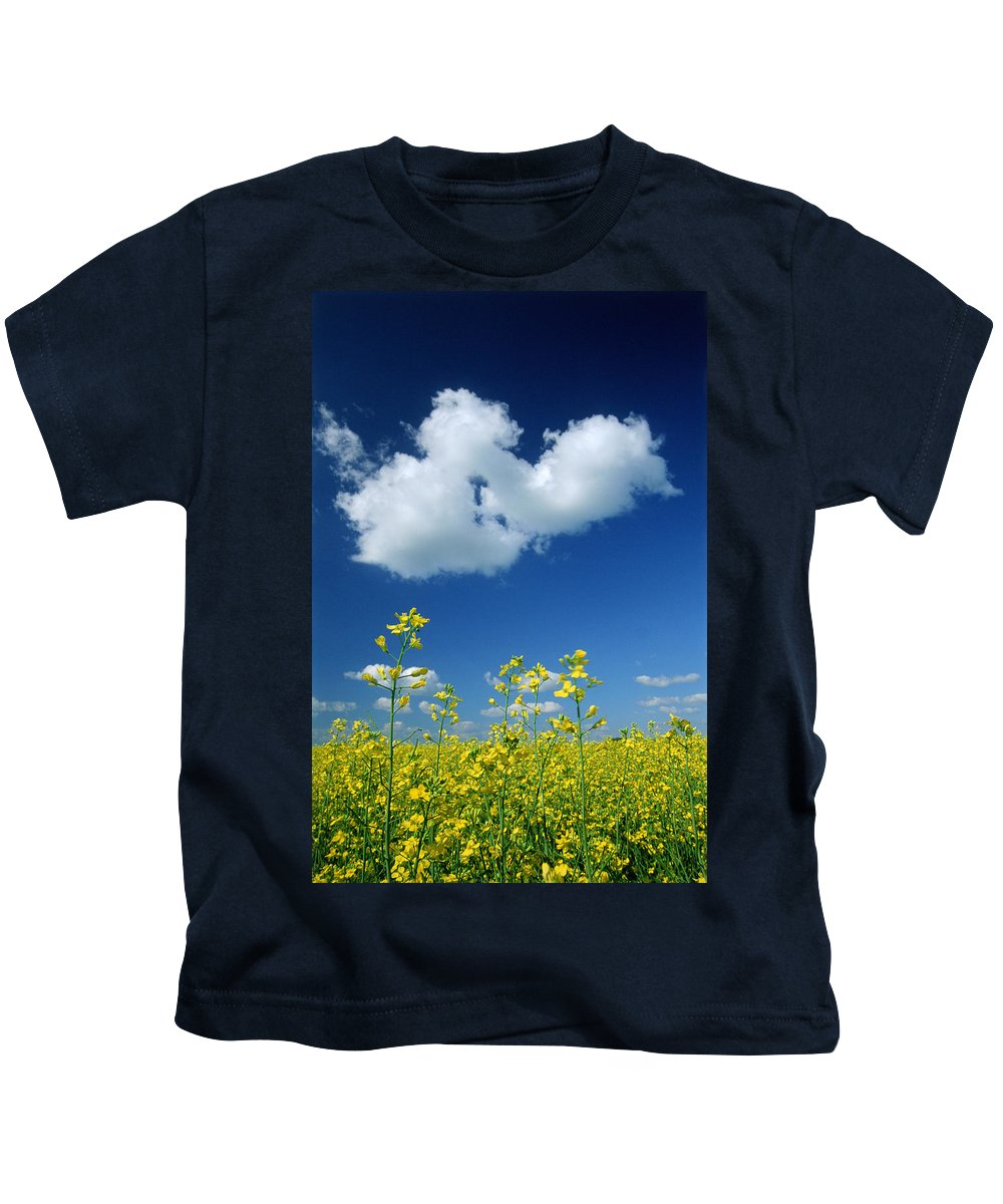 Canola Field Kids T-Shirt featuring the photograph Canola Flowers, Marquette, Manitoba by Mike Grandmailson