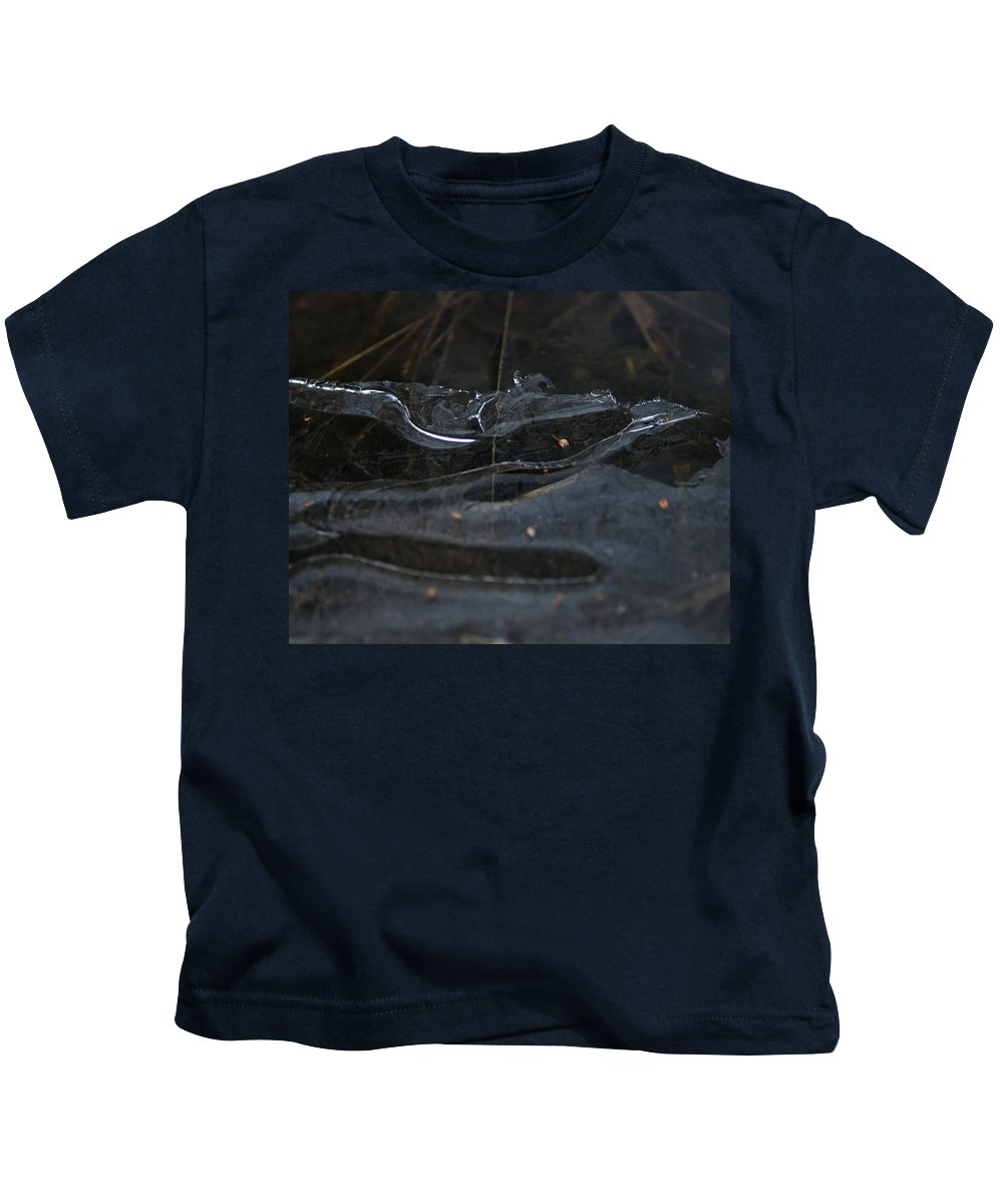 Abstract Kids T-Shirt featuring the photograph Caution Icy Curves Ahead by Susan Capuano