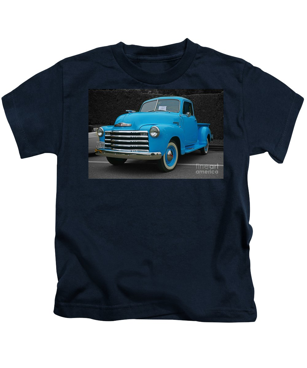 Cars Kids T-Shirt featuring the photograph Chevy Pick-up With Bw Background by Randy Harris