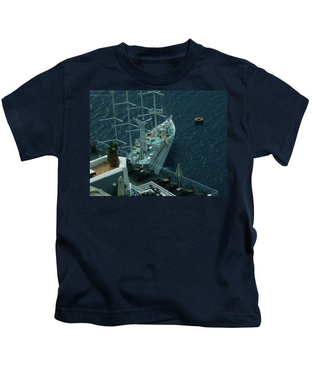 Colette Kids T-Shirt featuring the photograph Cruiser In Santorini Island by Colette V Hera Guggenheim