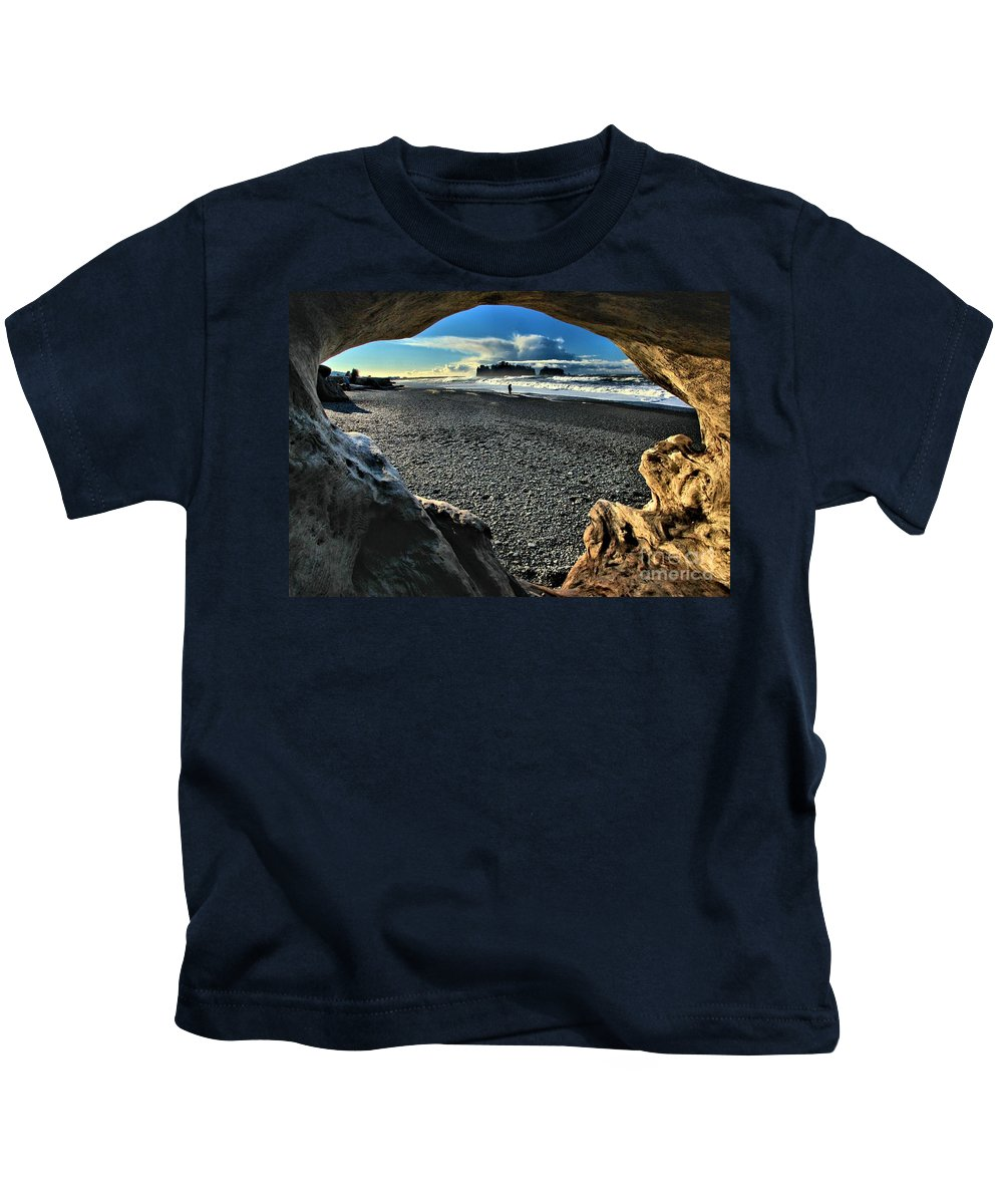 Olympic National Park Kids T-Shirt featuring the photograph Drift Wood Frame by Adam Jewell