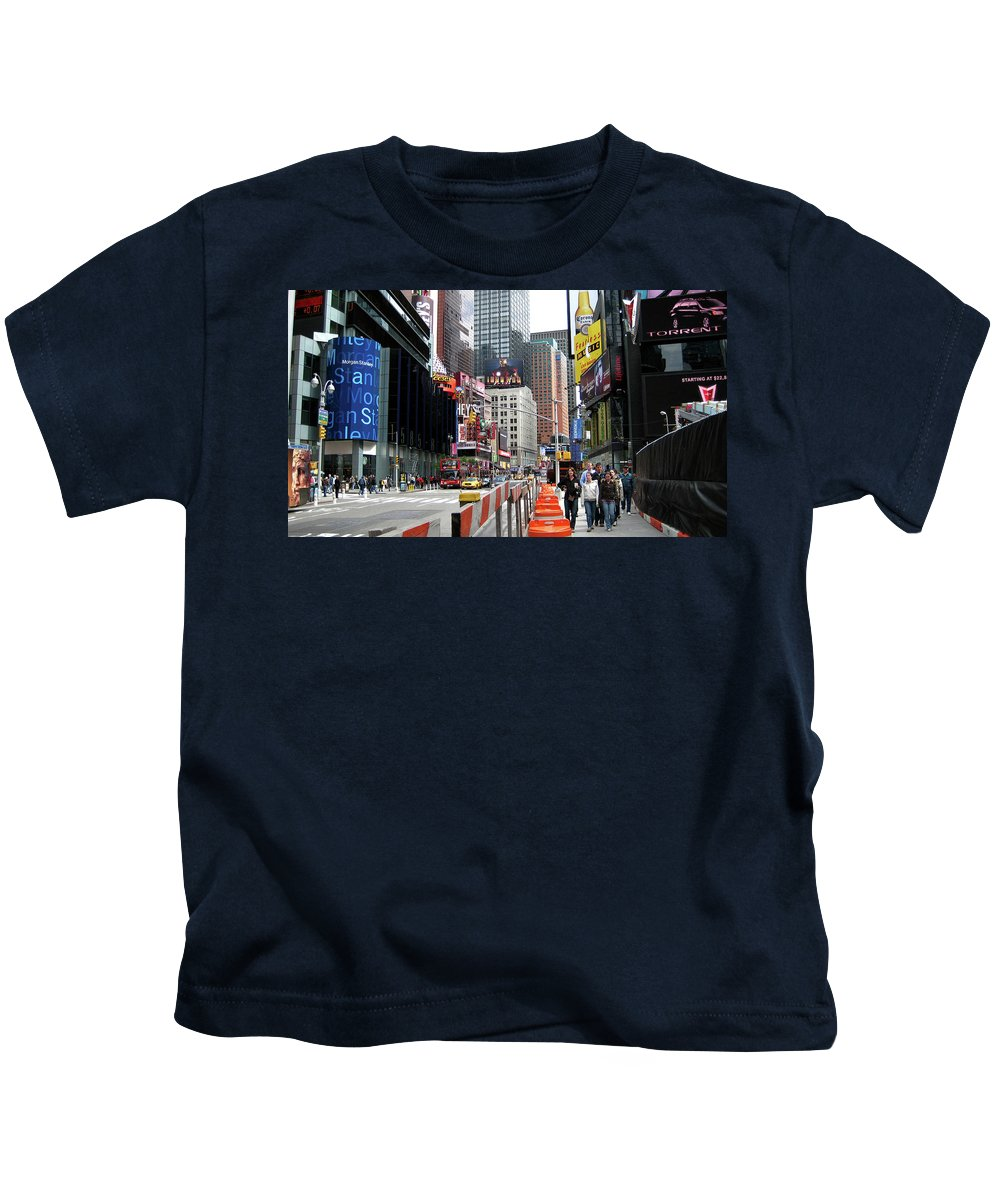 Times Square Street Kids T-Shirt featuring the photograph Amidst Color And Construction In Times Square by Lorraine Devon Wilke