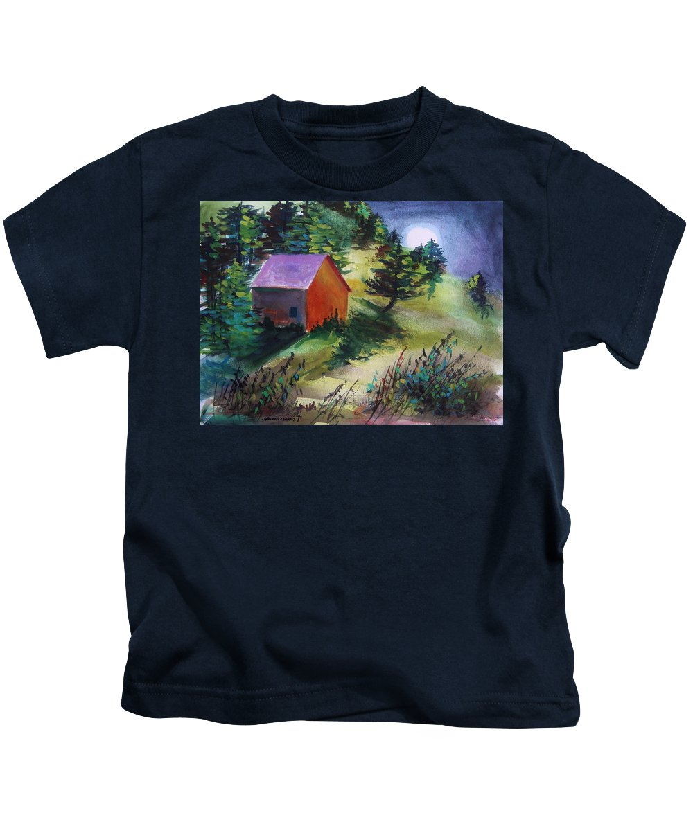 Watercolor Kids T-Shirt featuring the painting First Full Moon Night by John Williams