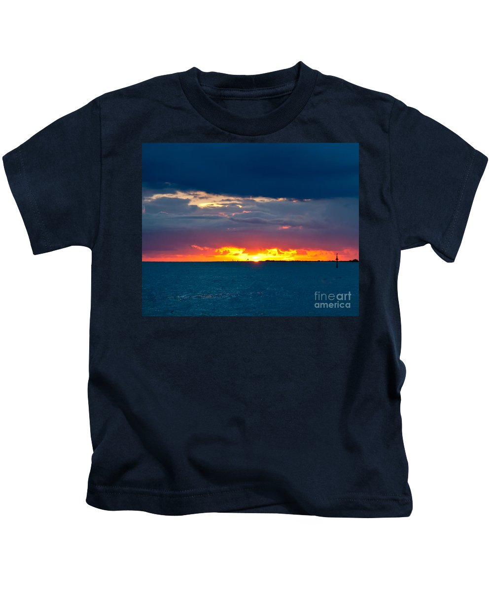 Sunset Kids T-Shirt featuring the photograph Flaming Sunset by Stephen Whalen