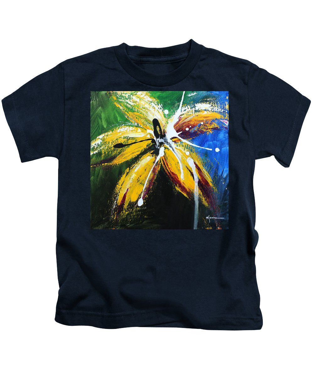 Floral Kids T-Shirt featuring the painting Flower Of Felucia by Kume Bryant