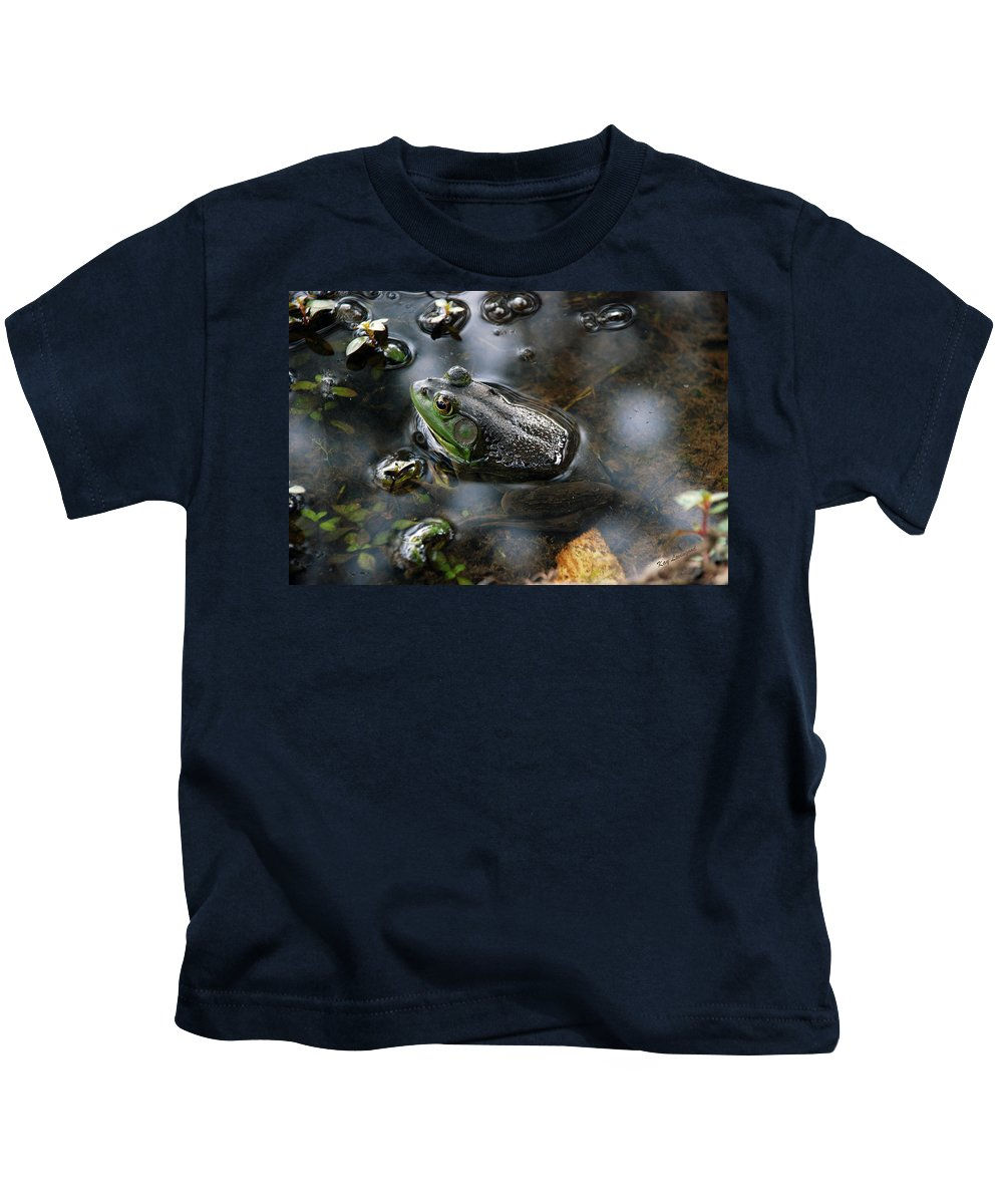 Frog Kids T-Shirt featuring the photograph Frog In The Millpond by Kay Lovingood
