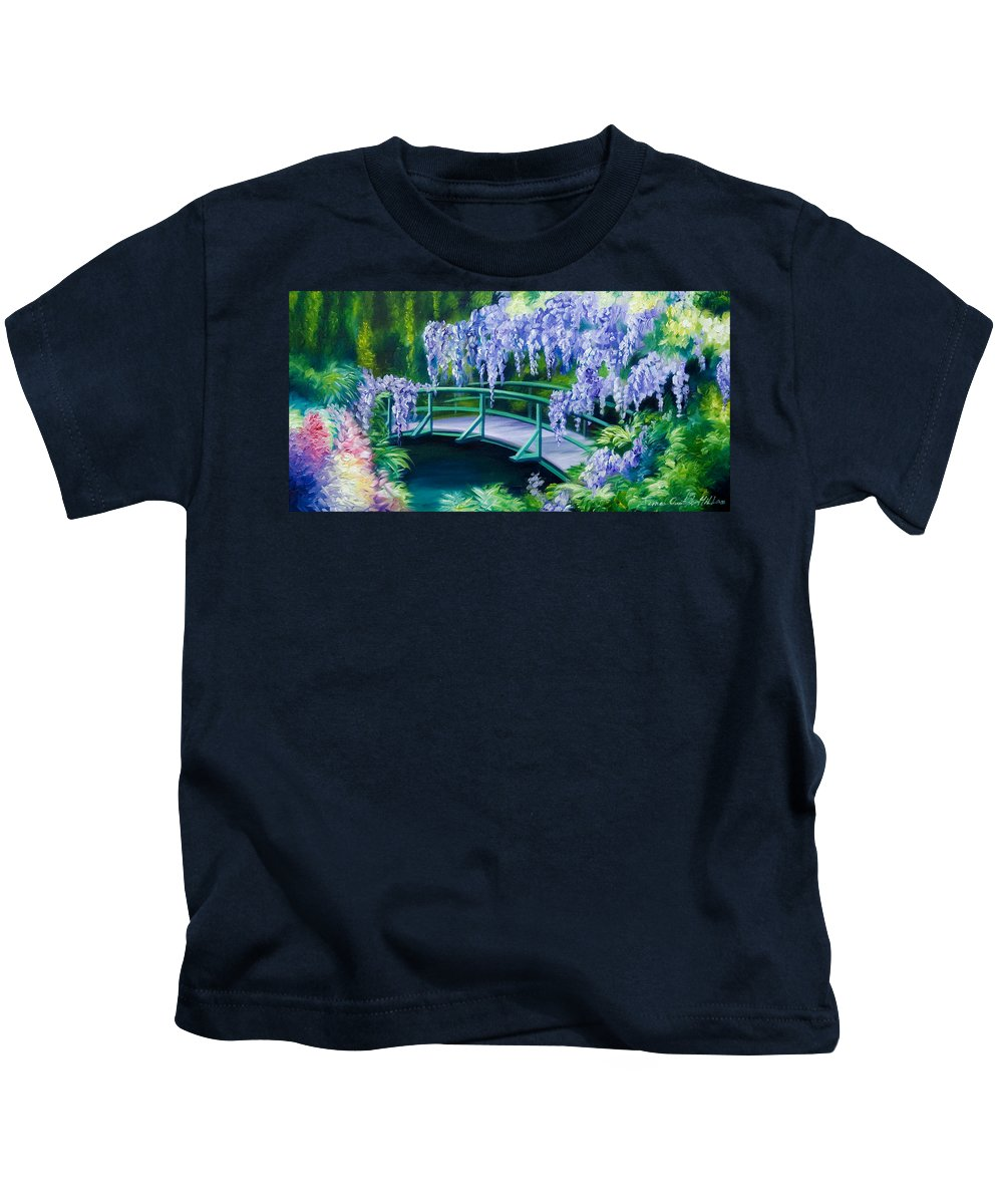 Bright Clouds Kids T-Shirt featuring the painting Gardens of Givernia II by James Christopher Hill