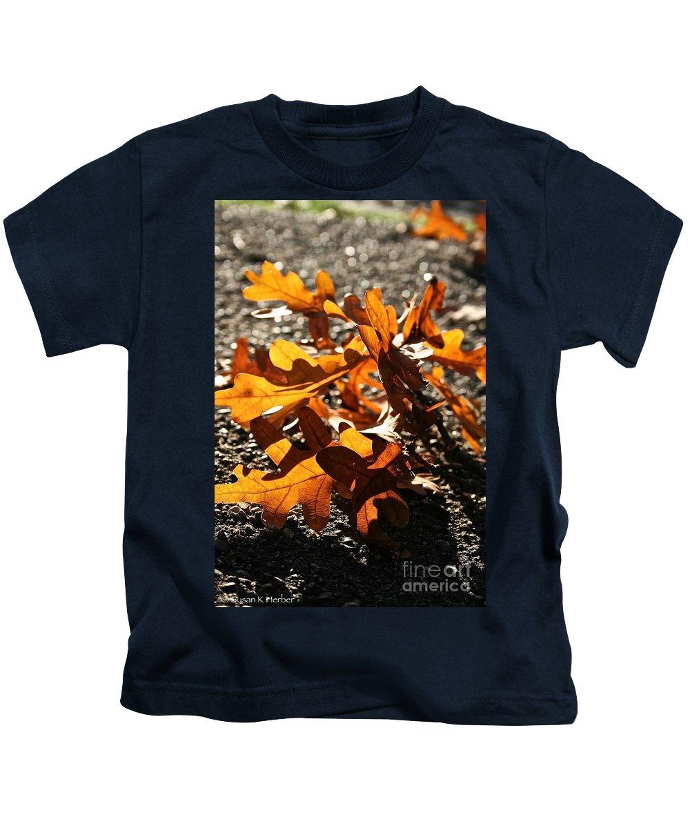 Outdoors Kids T-Shirt featuring the photograph Golden Oak Shadows by Susan Herber