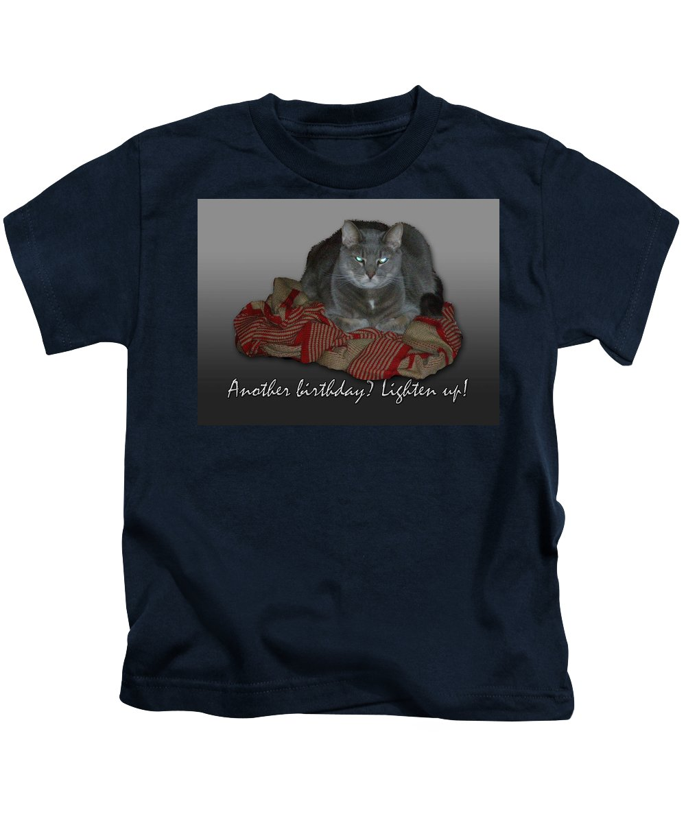 Birthday Kids T-Shirt featuring the photograph Grumpy Cat Birthday Card by Mother Nature