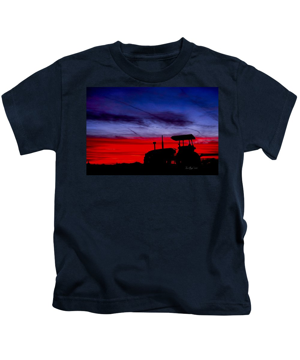 Farming Kids T-Shirt featuring the photograph Hard Day Ends by La Rae Roberts
