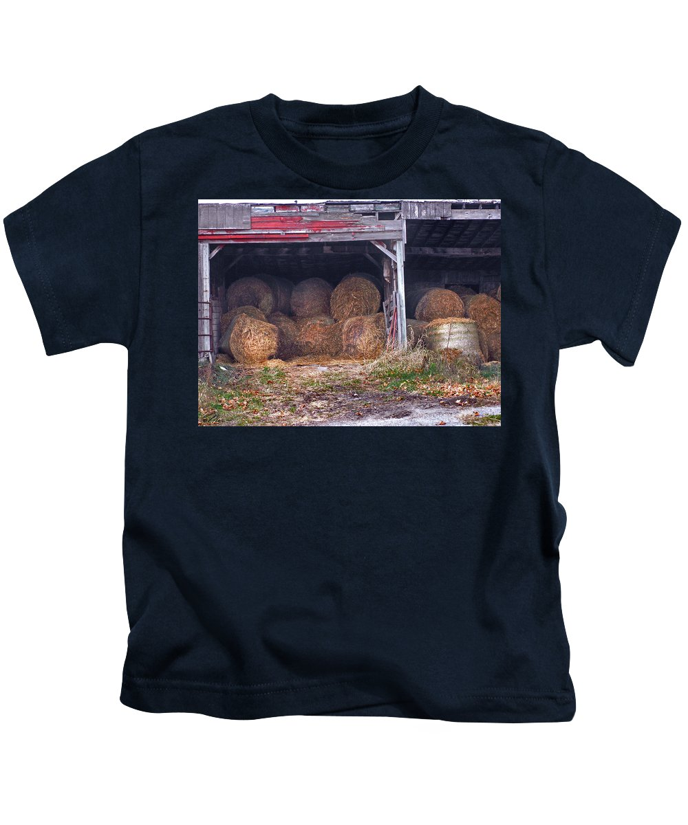 Vermont Kids T-Shirt featuring the photograph Hay Bales by Nancy Griswold