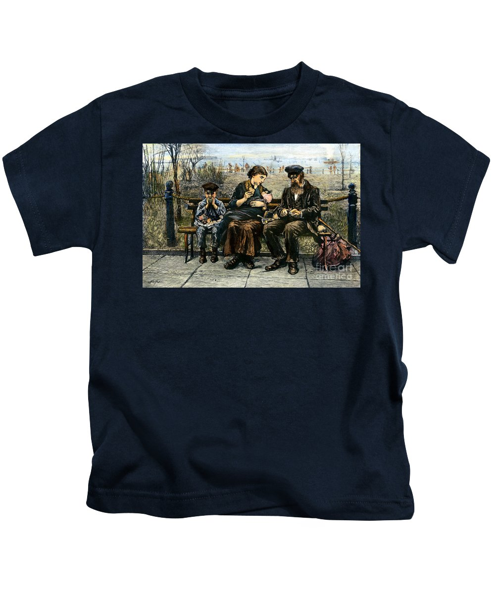 1884 Kids T-Shirt featuring the photograph Immigrants: Castle Garden by Granger