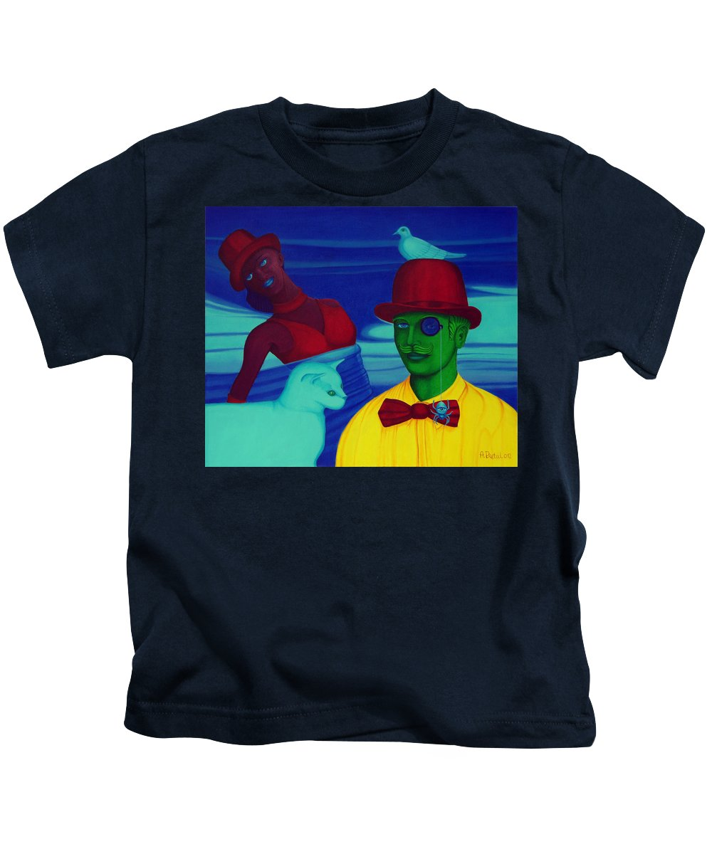 Color Kids T-Shirt featuring the painting In The Theatre Of Time by Andrzej Pietal