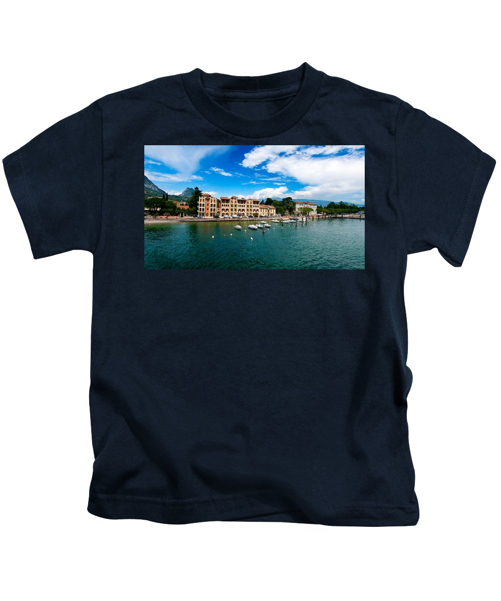 Bay Kids T-Shirt featuring the photograph Lago Di Garda In Italy In Early Spring by U Schade