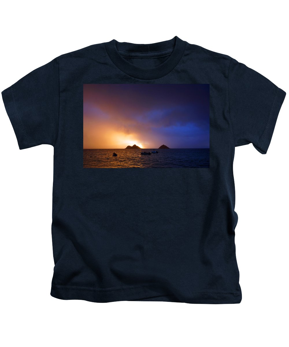 Lanikai Sunrise Kids T-Shirt featuring the photograph Lanikai Dawn Hawaii by Kevin Smith