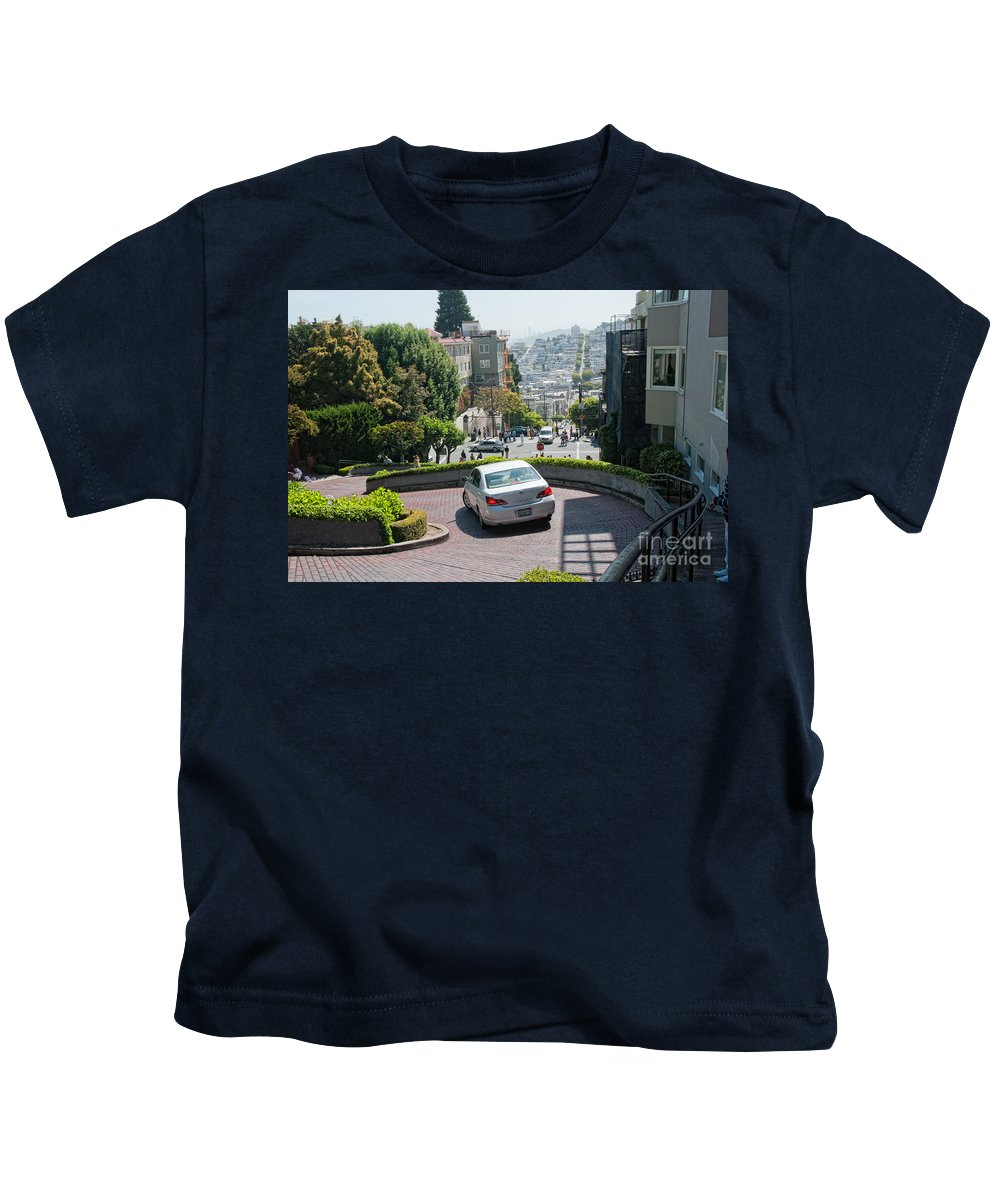 Cityview Kids T-Shirt featuring the digital art Lombard Street San Francisco by Carol Ailles