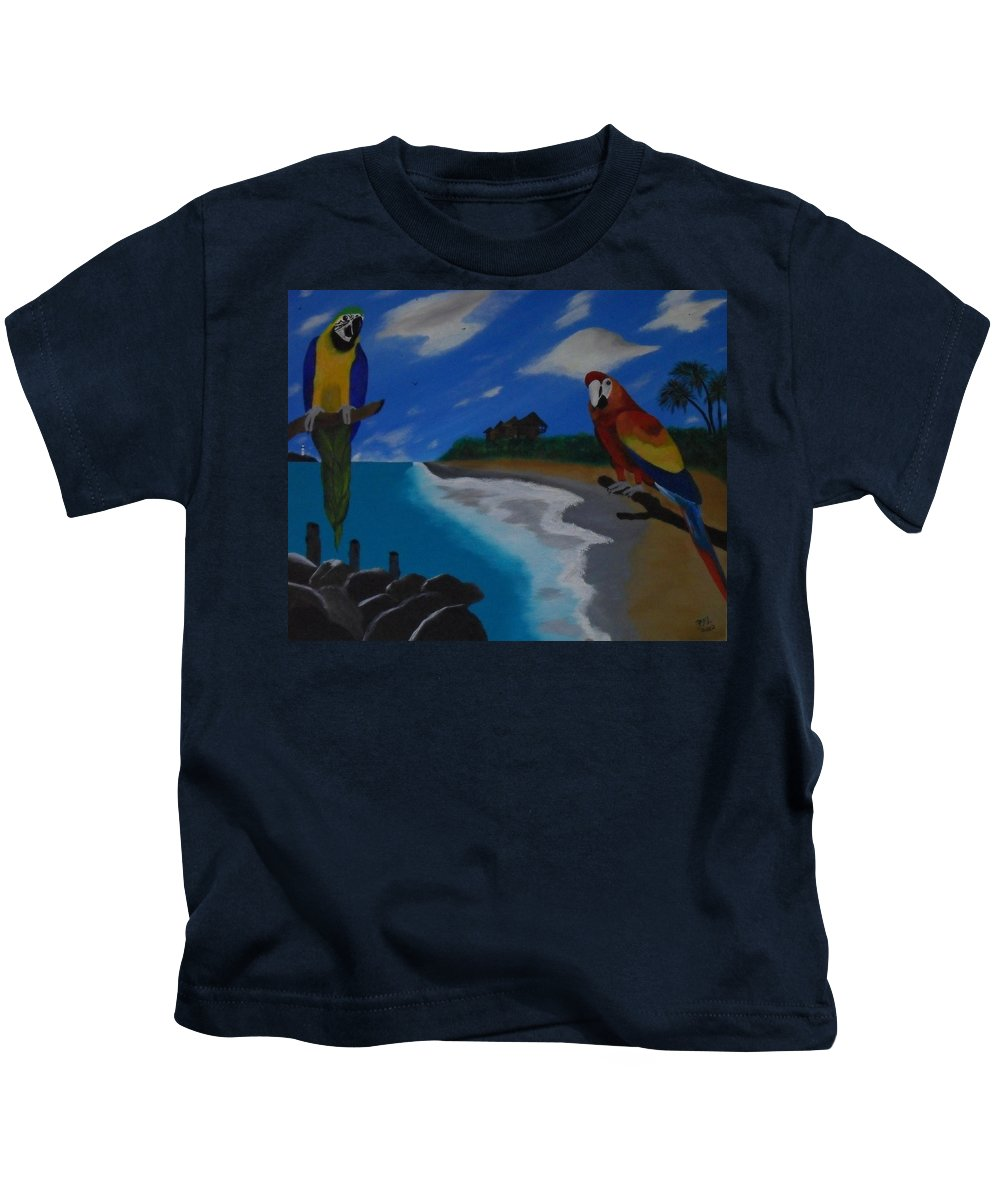 Birds Kids T-Shirt featuring the painting Lookin At You Lookin At Me by Paul F Labarbera