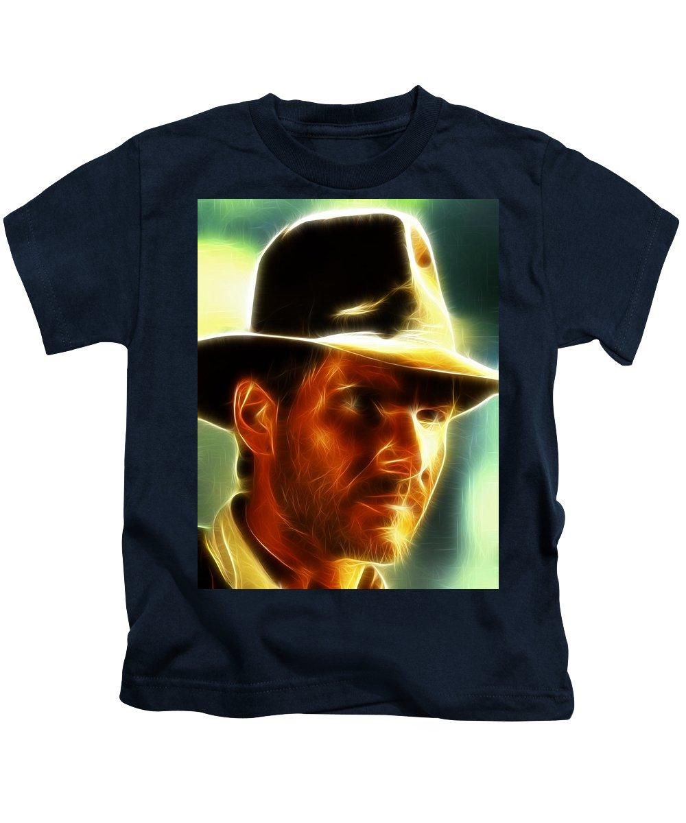 Magical Kids T-Shirt featuring the painting Magical Indiana Jones by Paul Van Scott