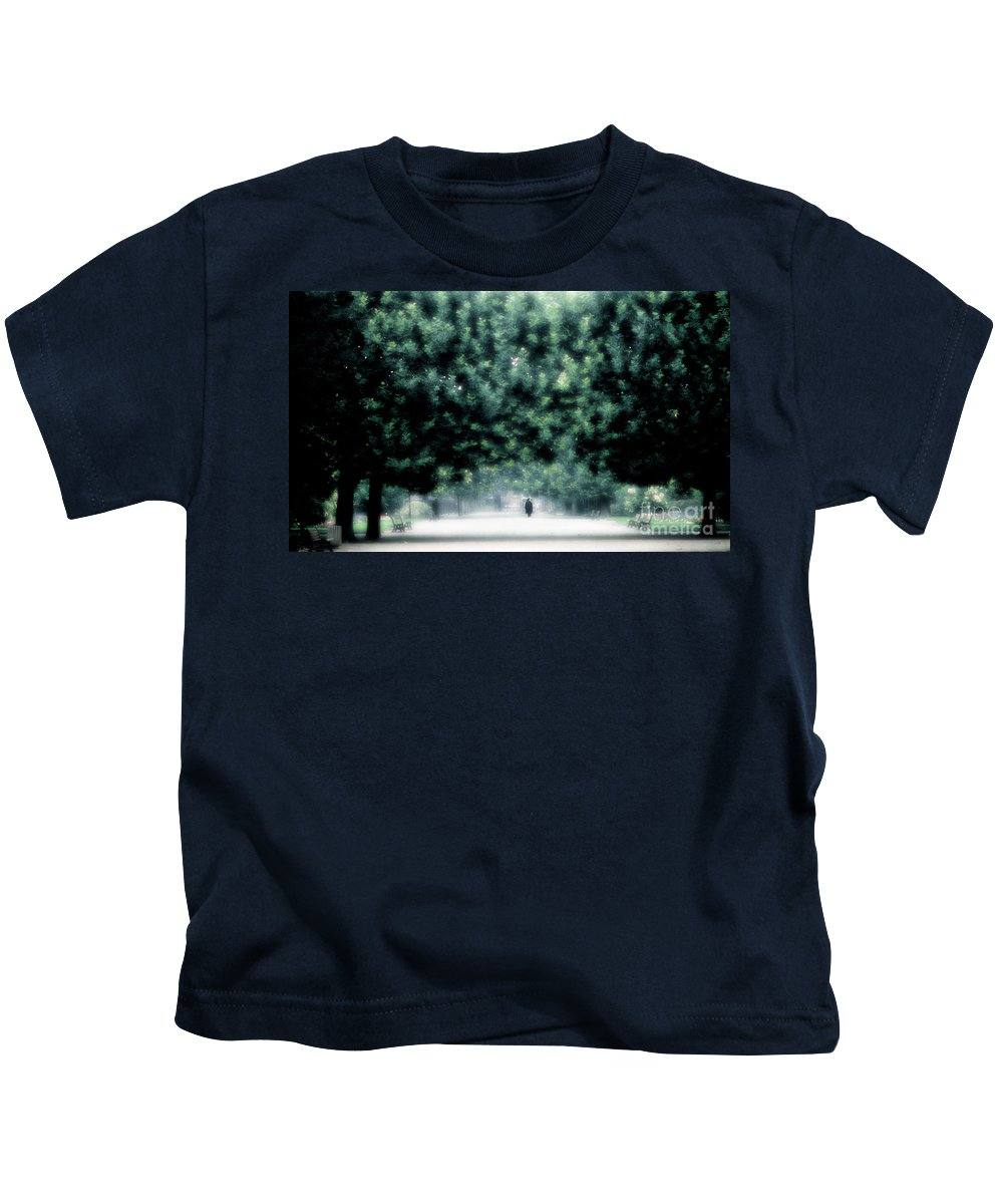 Misty Kids T-Shirt featuring the photograph Misty Parisian Park 2 by Mike Nellums