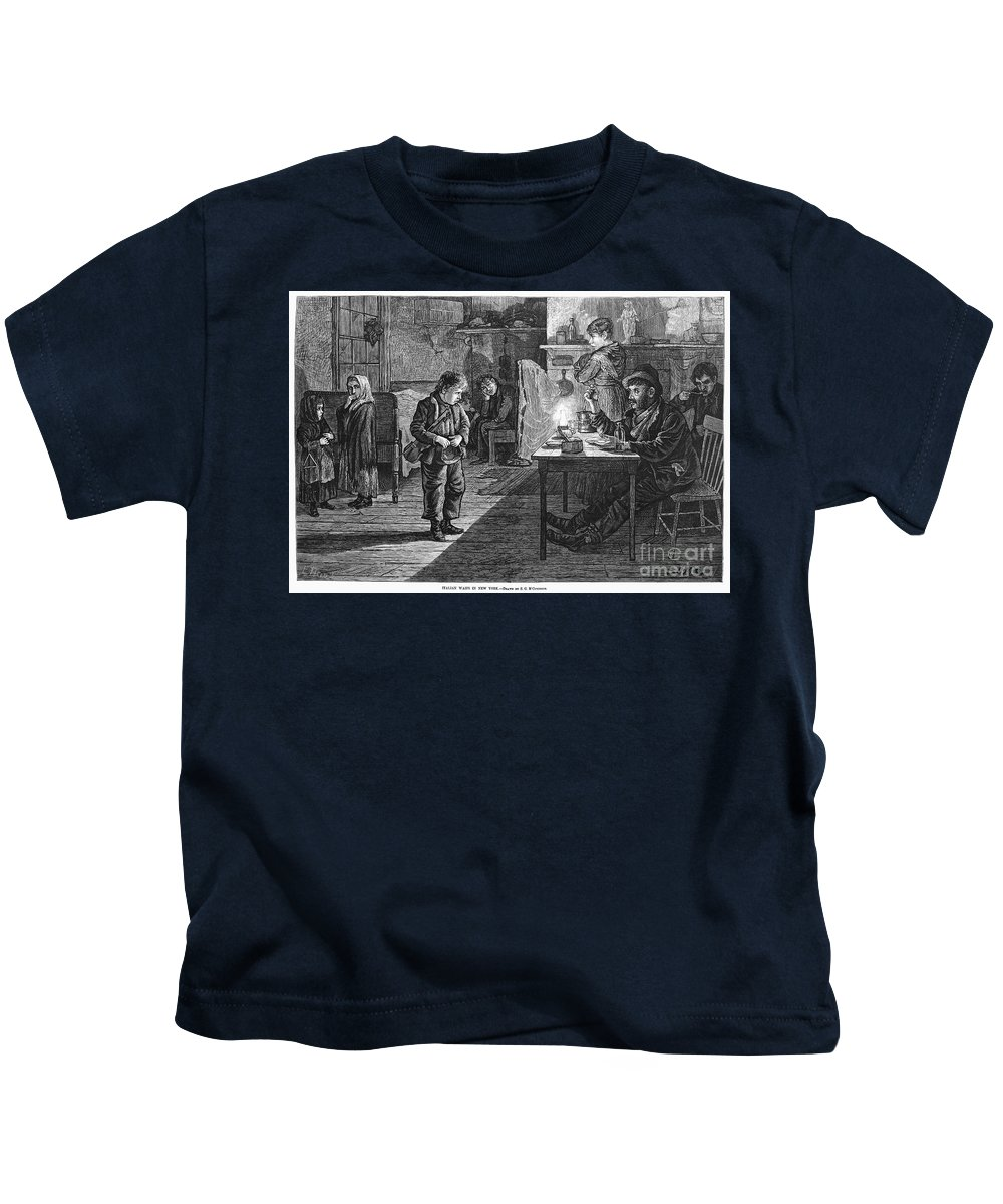1878 Kids T-Shirt featuring the photograph New York: Child Musician by Granger