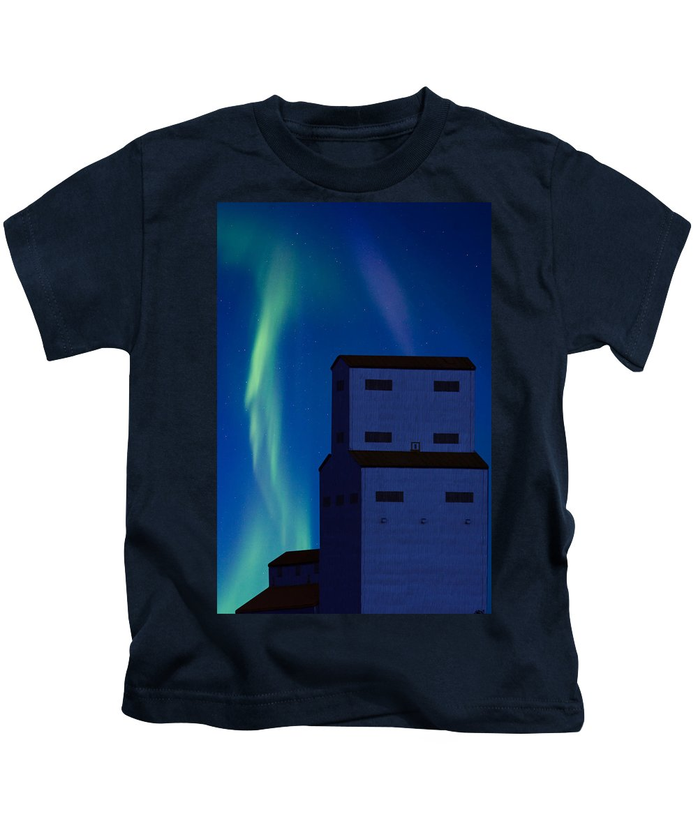 Landscape Kids T-Shirt featuring the digital art Northern Lights And Grain Elevator 2 by Mark Duffy