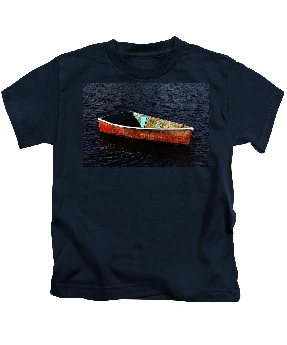 Rockport Kids T-Shirt featuring the photograph Painted Row Boat by Mark Valentine
