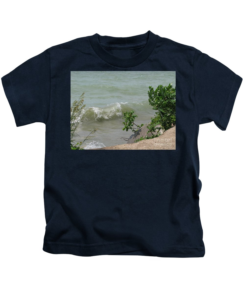 Lake Kids T-Shirt featuring the photograph Pelee Shore by Ann Horn