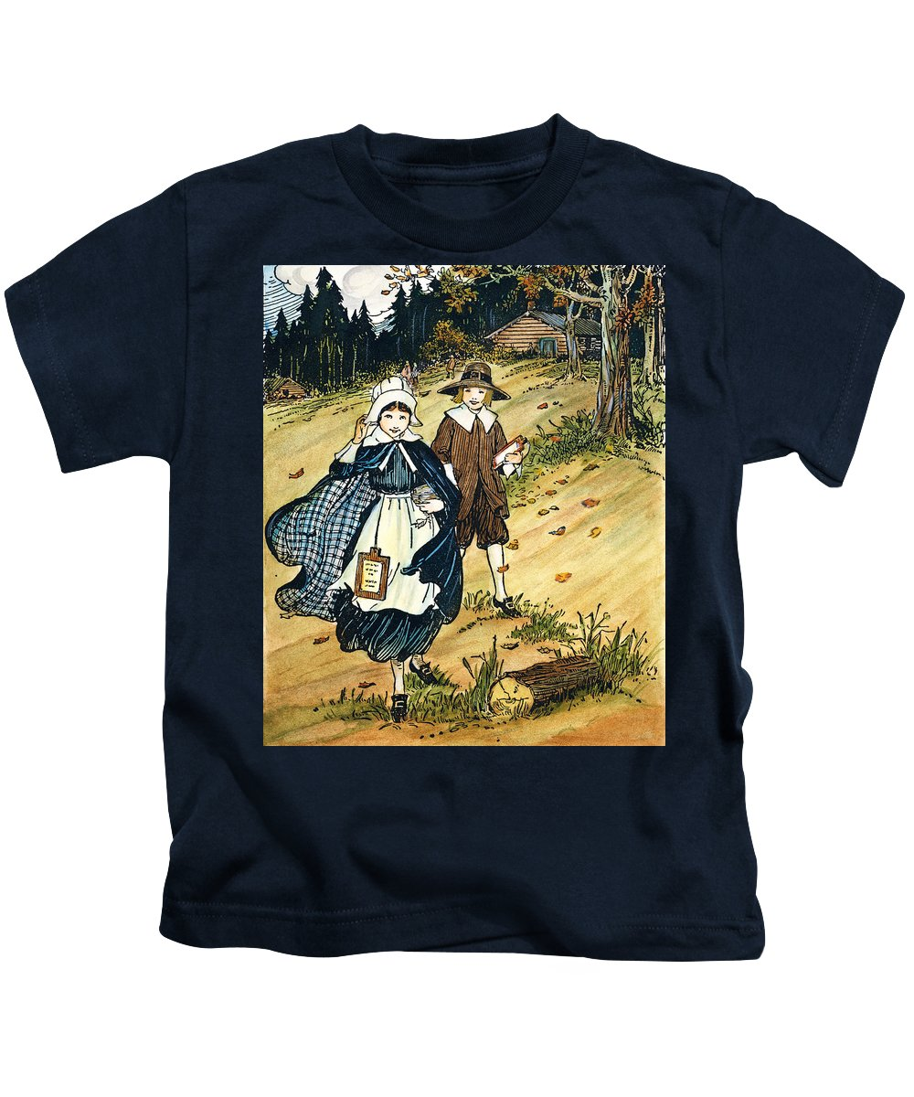 17th Century Kids T-Shirt featuring the photograph Pilgrim Schoolchildren by Granger
