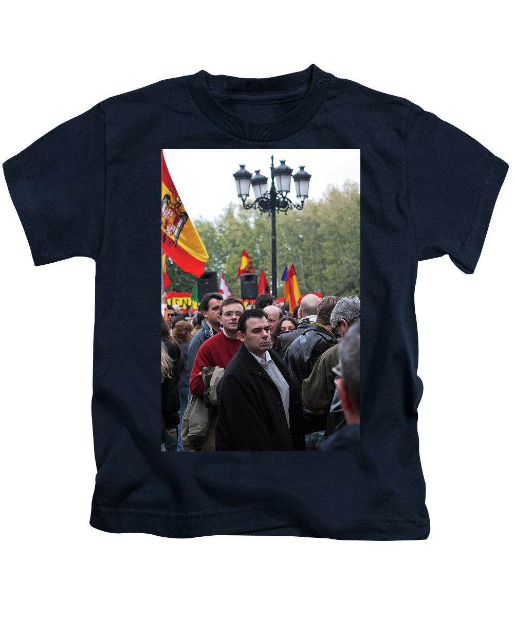 Madrid Kids T-Shirt featuring the photograph Protest In The Plaza by Lorraine Devon Wilke