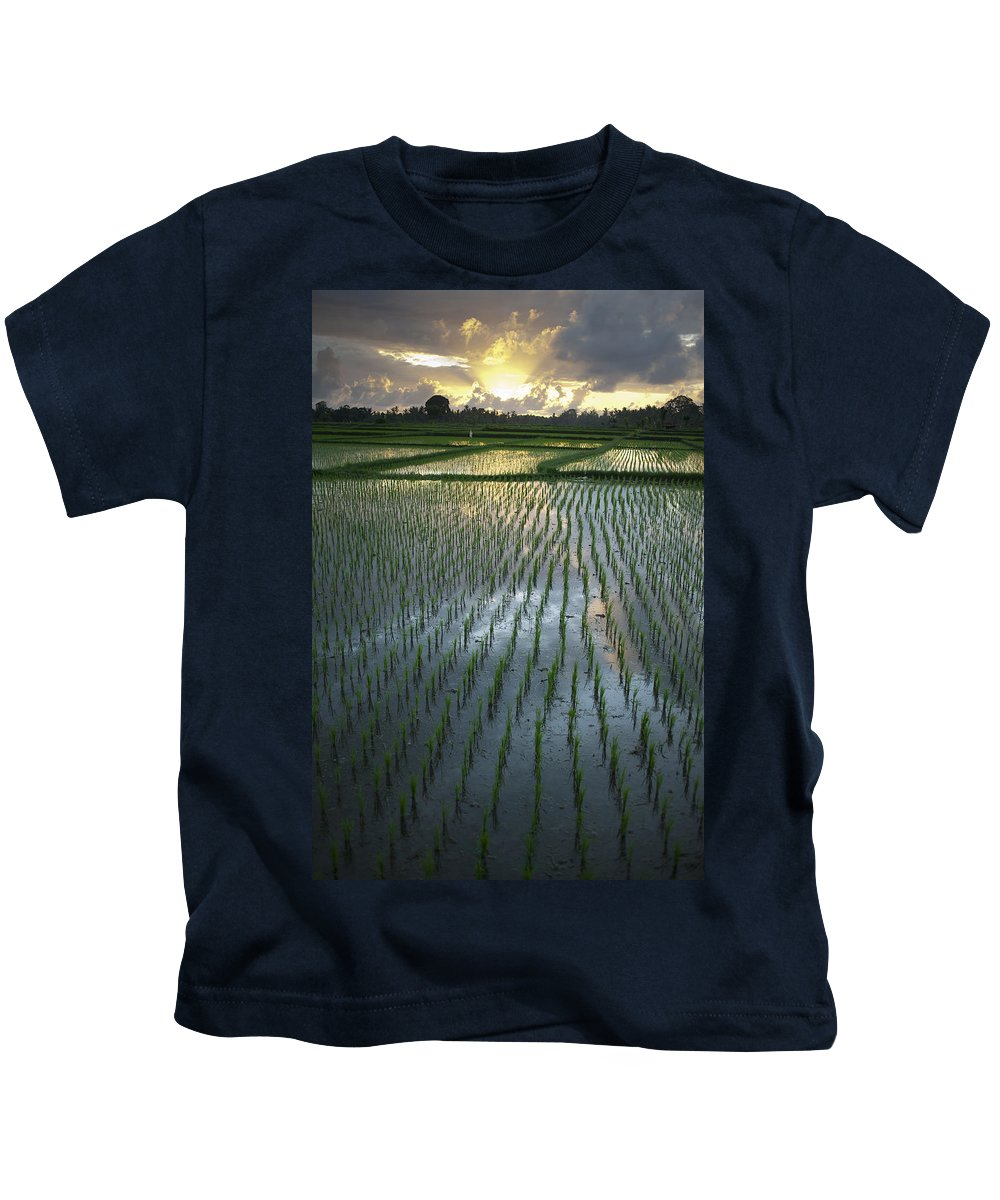 Cloud Kids T-Shirt featuring the photograph Rice Fields, Near Ubud Bali, Indonesia by Huy Lam