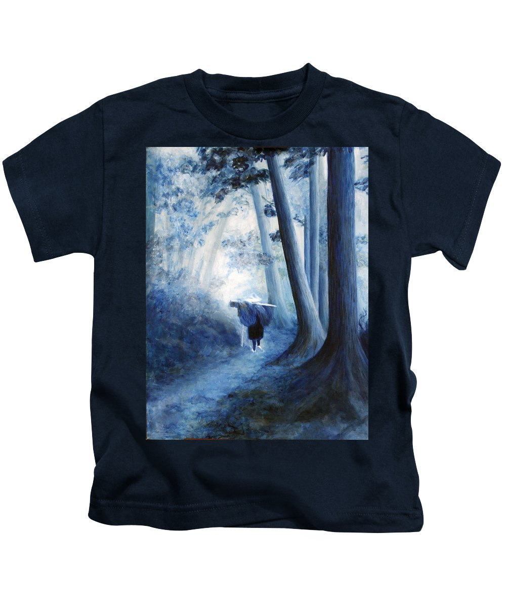 Trees Kids T-Shirt featuring the painting Road Home by Donna Walsh