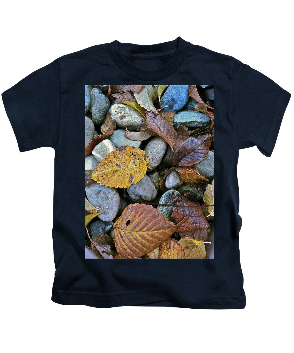 Leaves Kids T-Shirt featuring the photograph Rocks And Leaves by Bill Owen