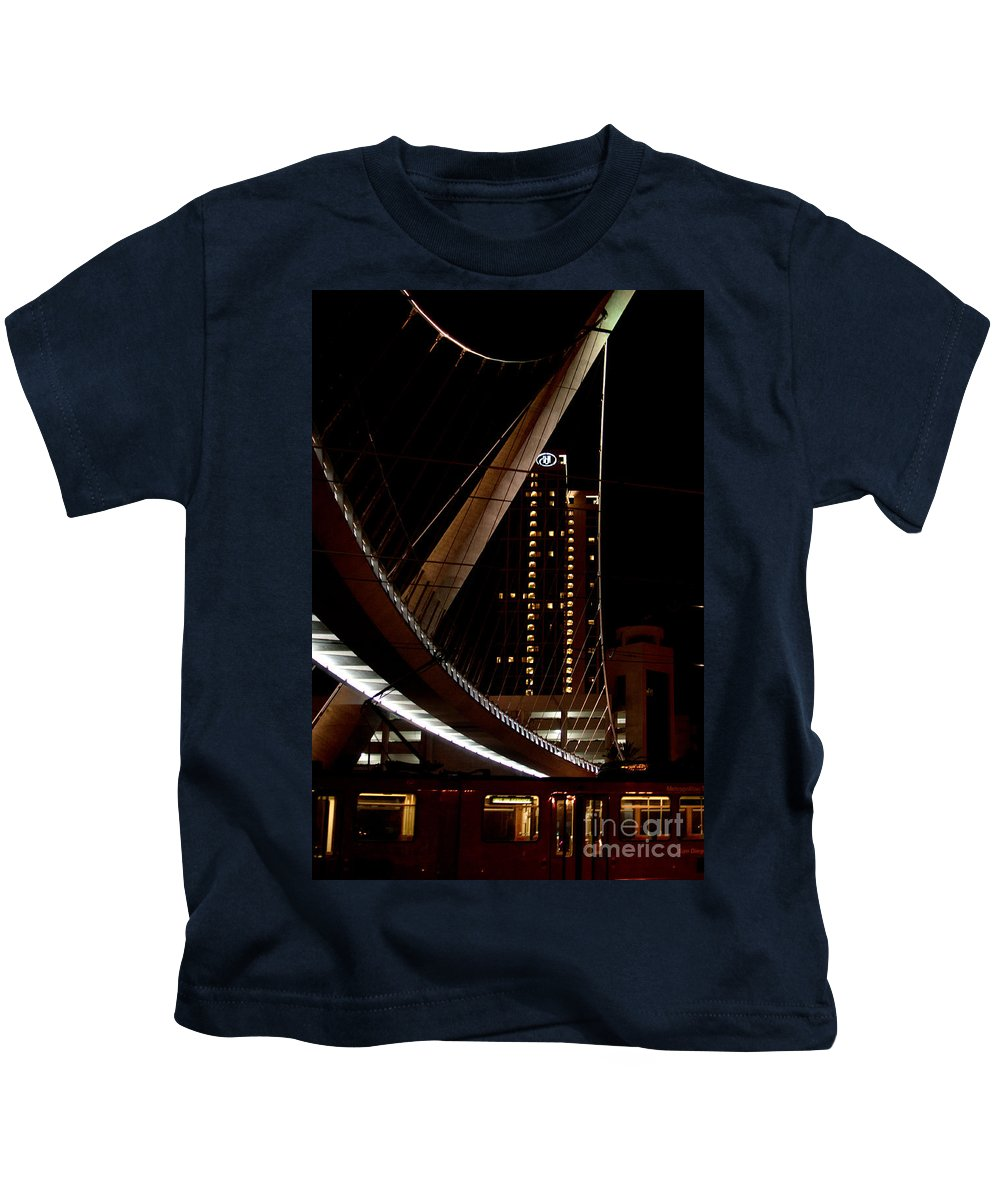 California Kids T-Shirt featuring the digital art San Diego Lights At Night by Carol Ailles