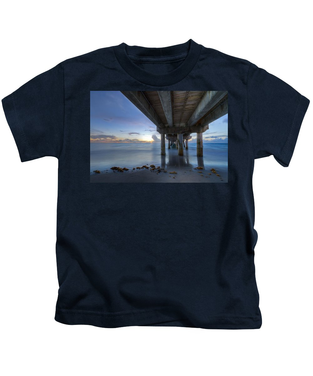 Fishing Kids T-Shirt featuring the photograph Seaside Serenity by Debra and Dave Vanderlaan