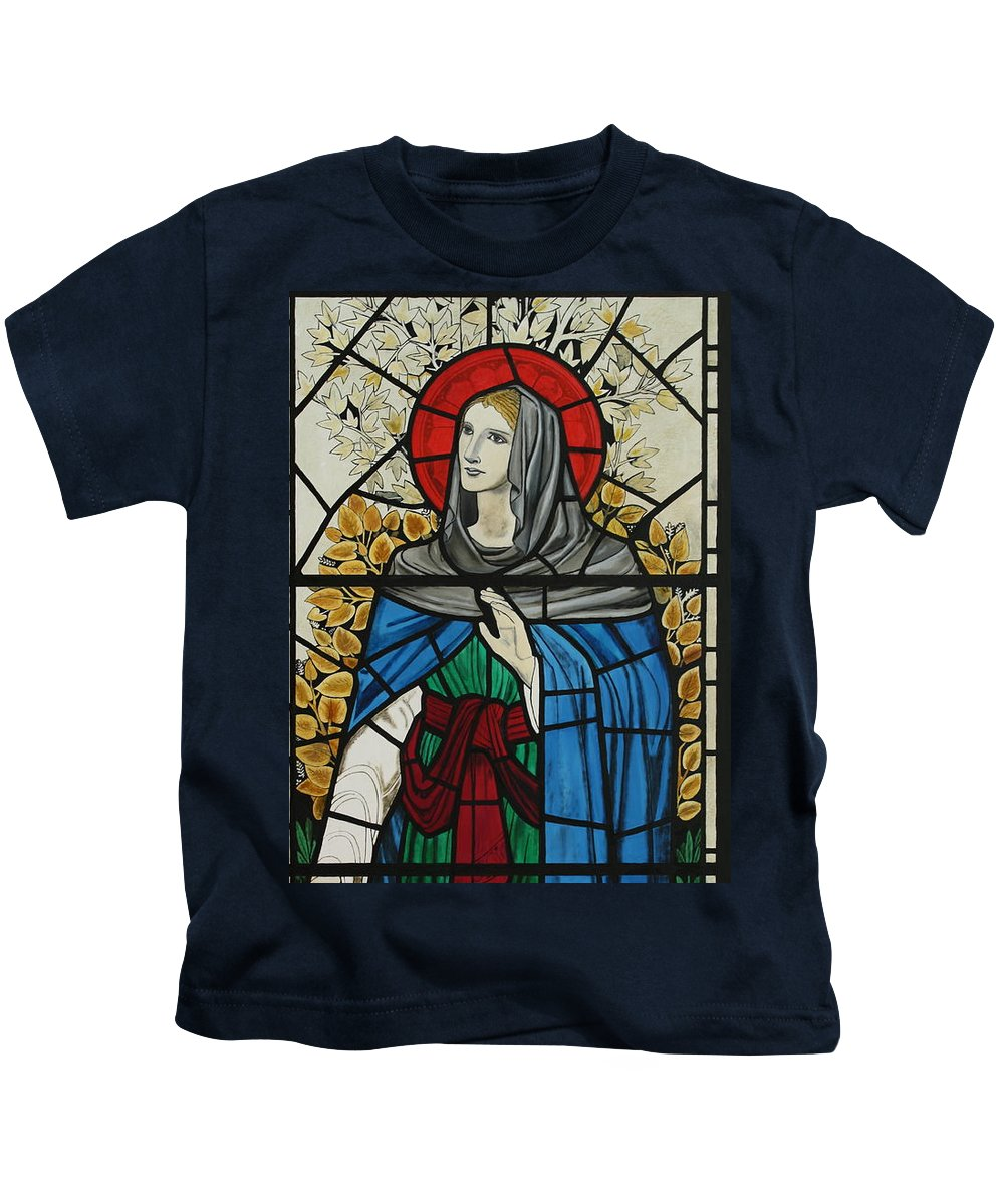 Window Kids T-Shirt featuring the painting Spes Window Detail by Robert Harris