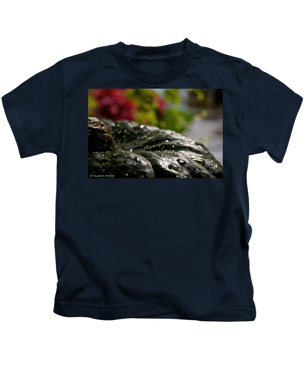 Outdoors Kids T-Shirt featuring the photograph Squash Showered by Susan Herber